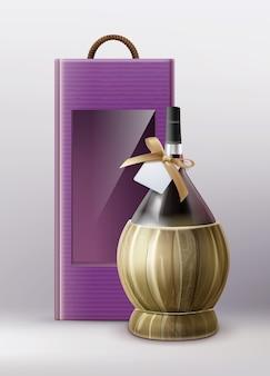Ilustracja pudełko wina z butelką wina