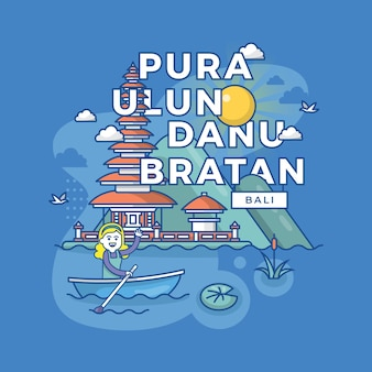 Ilustracja pura ulun danu bratan bali, indonezja punkt orientacyjny