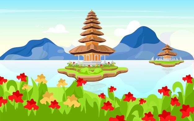 Ilustracja pura ulun danu bratan. hinduska świątynia shaivite na bali. indonezja tradycyjna architektura. kompleks świątynny. religijny budynek na jeziorze w dzień kreskówka tło