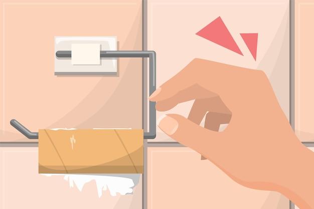 Ilustracja pusta rolka papieru toaletowego