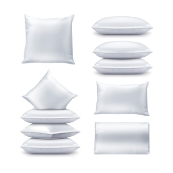 Ilustracja puste białe kwadratowe i prostokątne poduszki. zestaw poduszki widok z góry i z przodu