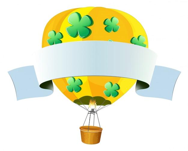 Ilustracja pusty balon na ogrzane powietrze na białym tle