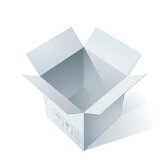 Ilustracja pusty otwarty karton