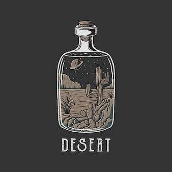 Ilustracja pustyni w butelce z ręcznie rysowanym wektorem stylu