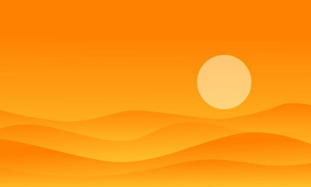 Ilustracja pustynia na pomarańczowych tło