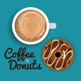 Ilustracja pyszne filiżanki kawy i pączki