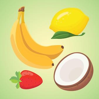 Ilustracja pyszne świeże owoce