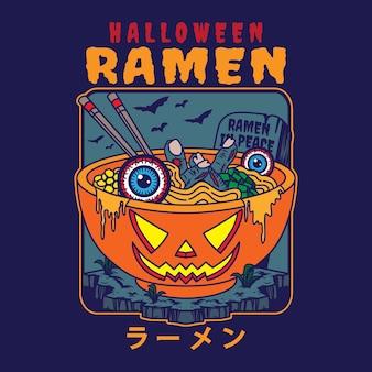 Ilustracja pysznego japońskiego makaronu ramen na misce z halloweenową dynią w stylu vintage