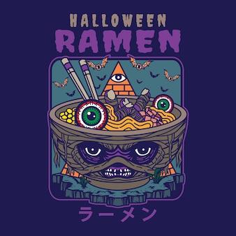 Ilustracja pysznego japońskiego makaronu ramen na misce z halloweenową mumią w stylu vintage