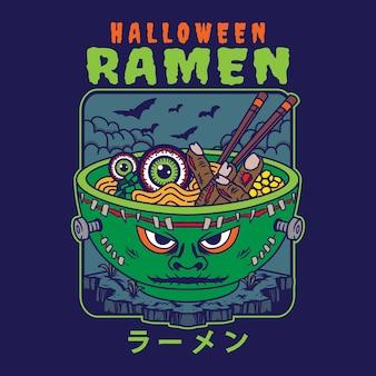 Ilustracja pysznej japońskiej miski z makaronem ramen z halloweenowym frankensteinem w stylu vintage