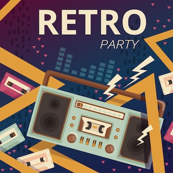 Ilustracja radia retro. typografia aparat muzyczny magnetofon kasetowy z lat 80