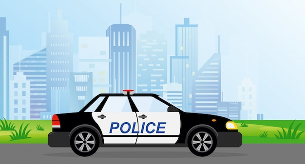 Ilustracja radiowozu policyjnego na tle nowoczesnego miasta w stylu płaski.