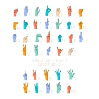 Ilustracja rąk języka migowego i alfabetu dla osób niesłyszących.