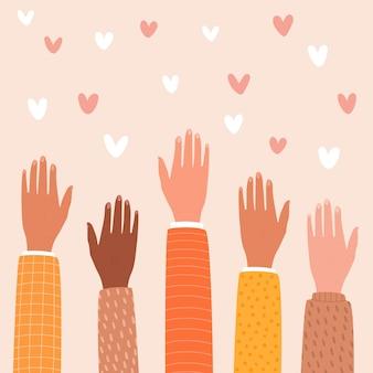 Ilustracja rąk sięgających po serca. pojęcie wsparcia, wolontariatu, dobroczynności.