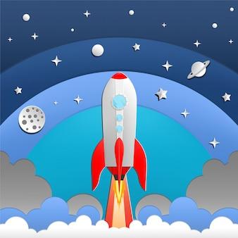Ilustracja rakiety w przestrzeni kosmicznej
