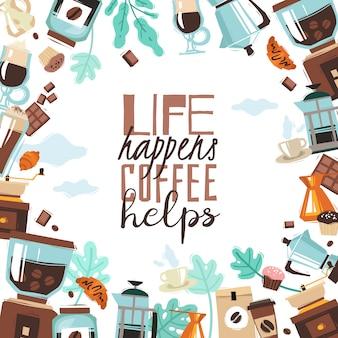Ilustracja rama kawiarnia. przedmioty pod maską przycinania i cytat z napisem
