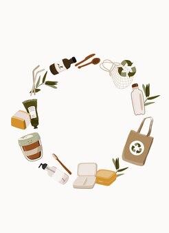 Ilustracja rama koncepcja zero odpadów