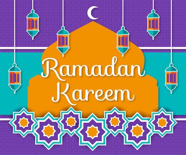 Ilustracja ramadan kareem w stylu papieru