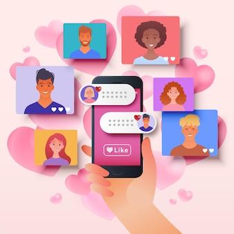 Ilustracja randkowa online z aplikacją platformy mobilnej dopasowującą profile osób za pomocą smartfona