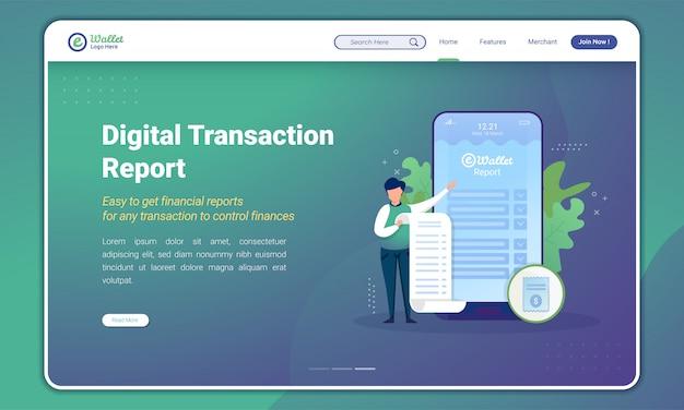 Ilustracja raportu transakcji portfela cyfrowego na stronie docelowej