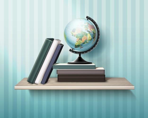 Ilustracja realistyczna drewniana półka z książkami i kulą ziemską na tle ściany