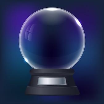 Ilustracja realistyczna śnieżna kula ziemska na błękicie