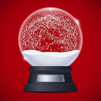 Ilustracja realistyczna śnieżna kula ziemska na czerwieni