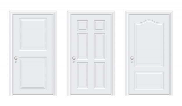 Ilustracja realistyczne białe drzwi