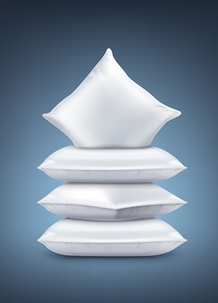 Ilustracja realistyczne białe poduszki na białym tle na granatowym tle