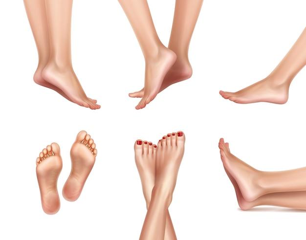 Ilustracja realistyczne kobiece stopy ustawione z nogami stojącymi na palcach
