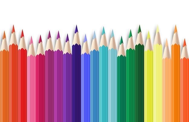 Ilustracja realistyczne kolorowe kredki
