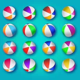 Ilustracja realistyczne kolorowe piłki plażowe.