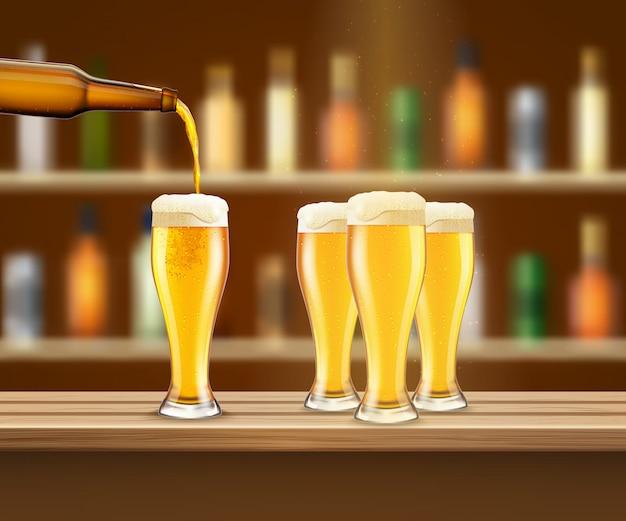 Ilustracja realistyczne piwo