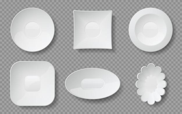 Ilustracja realistyczne talerze żywności