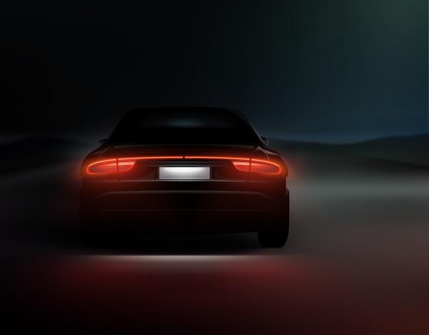 Ilustracja realistyczne tylne światła samochodu świecą na tle ciemnej nocy