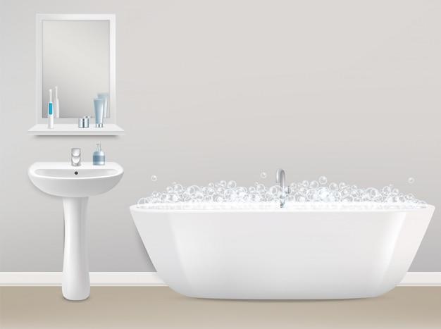 Ilustracja realistyczne wnętrze łazienki