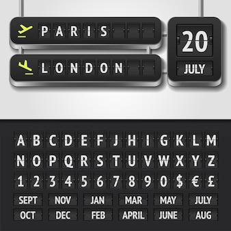 Ilustracja realistycznego harmonogramu lotniska i alfabetu tablicy wyników