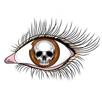 Ilustracja realistycznego ludzkiego oka z dniem zmarłej czaszki
