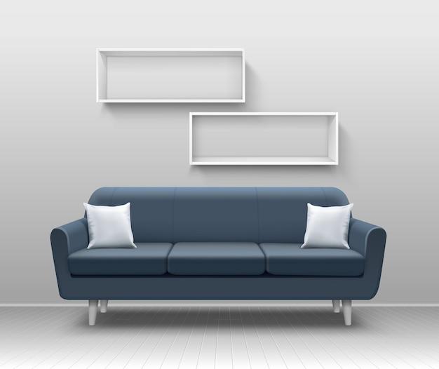 Ilustracja realistycznego nowoczesnego wnętrza salonu z szarą sofą