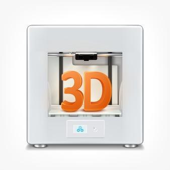 Ilustracja realistycznej biurowej drukarki 3d.