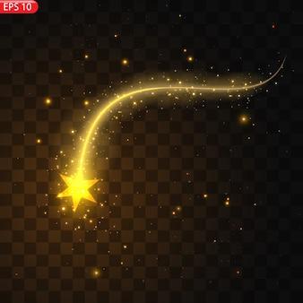 Ilustracja realistycznej komety spadającej. na białym tle przezroczyste tło. spadająca gwiazda, meteor. meteoryt z ogonem