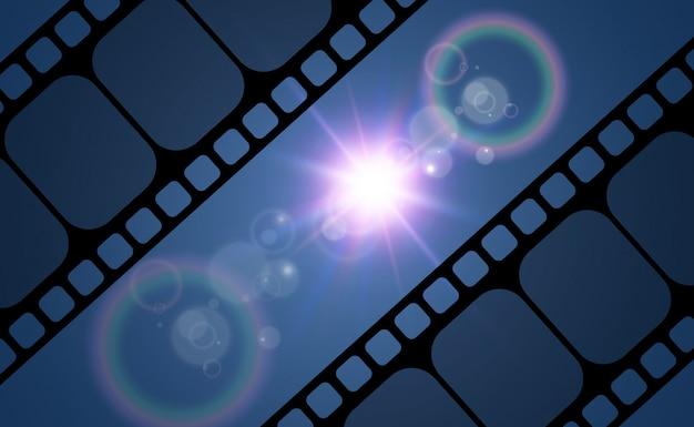 Ilustracja realistycznej taśmy filmowej. taśma filmowa do twojego projektu.