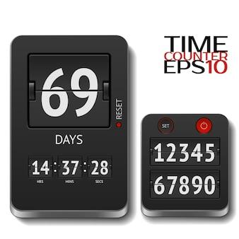 Ilustracja realistyczny licznik czasu klapki na białym tle. zawiera wszystkie liczby