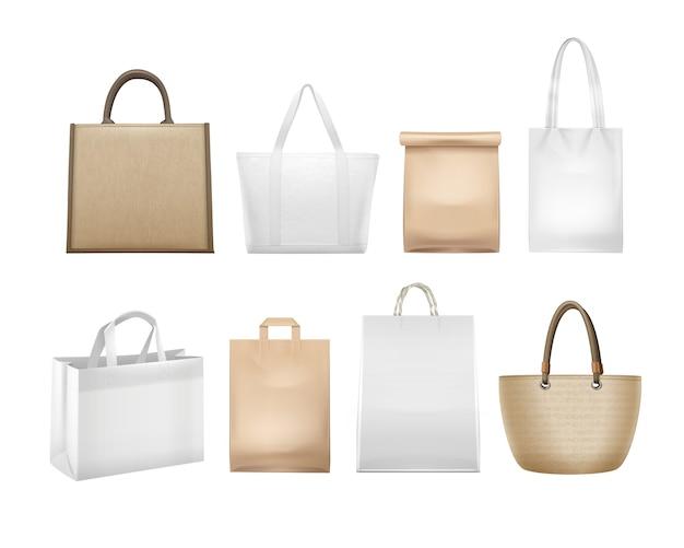 Ilustracja realistycznych białych i beżowych toreb na zakupy