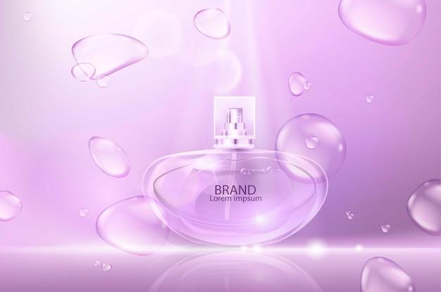 Ilustracja realistycznych perfum w szklanej butelce z bąbelkami.