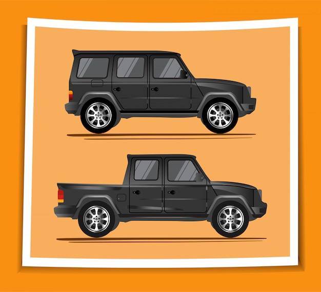 Ilustracja realistycznych samochodów przygodowych suv i ciężarówek