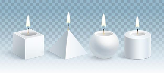 Ilustracja realistycznych świecących białych świec woskowych zestaw różnych kształtów: sześcian, piramida, kula i cylinder na przezroczystym niebieskim tle