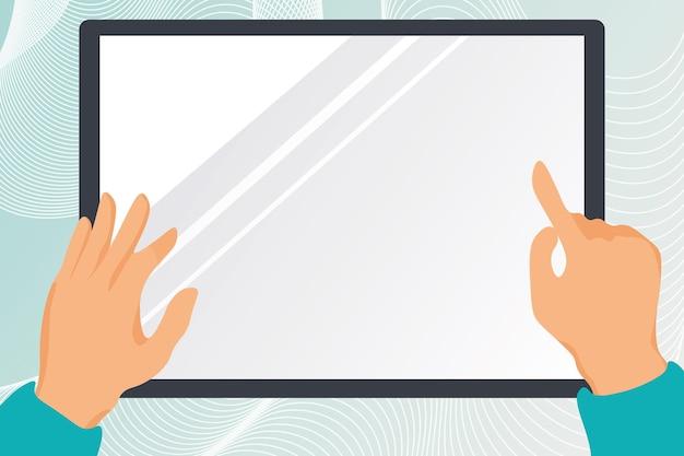 Ilustracja ręce rysująca na ekranie tabletu trzymającego ekran pokazujący informacje dłonie niosące monitor...
