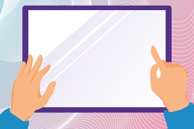 Ilustracja ręce rysująca na ekranie tabletu trzymającego ekran pokazujący informacje o dłoniach niosących