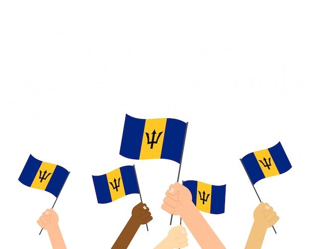 Ilustracja ręce trzymając flagi barbadosu